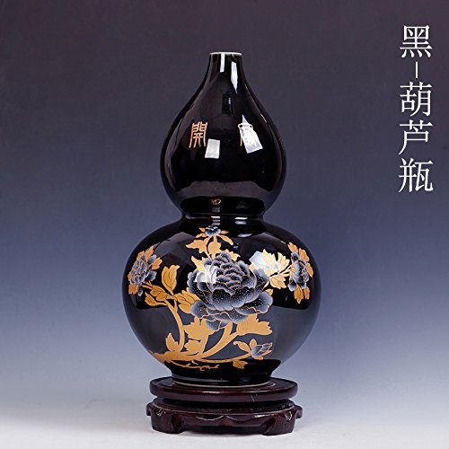 Dajidali@ Keramik Vase Ornamente Heimtextilien Blume Zimmer, Flasche Kürbis H30* D 16. (Ornament Kürbis-ball)
