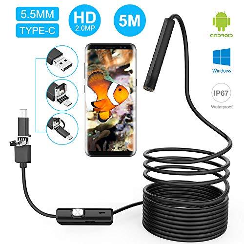 innislink Endoskopkamera, USB Endoskop Android Handy Inspektionskamera 3 in 1 USB/Micro USB/Type-C Megapixel HD Halbsteife Kabel Boreskope Kamera Wasserdicht für Android Phone Tablet Windows - 5m