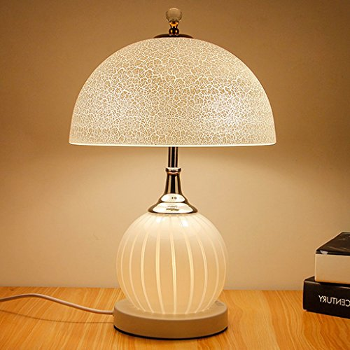 Lampe de bureau moderne simple étude chambre lampe verre lampe de chevet E27 lampe de table (Color : White)