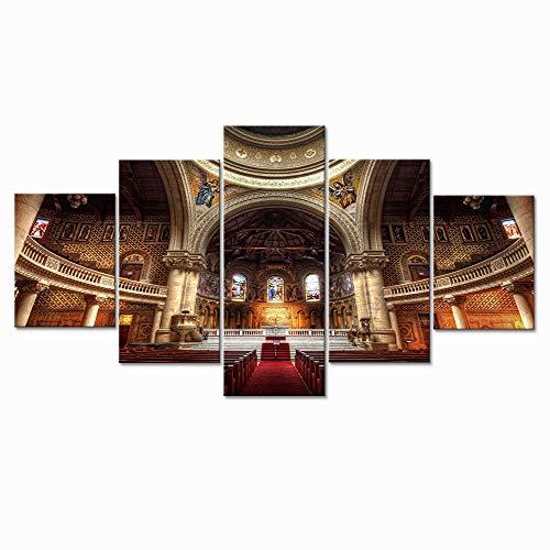 sxkdyax Kein Rahmen Home Decor Canvas HD - Druck Bilder - Wand - Kunst 5 Stück Stanford Memorial Church Gemälde Landschaft Poster Wohnzimmer Arbeit - Stanford-spiel