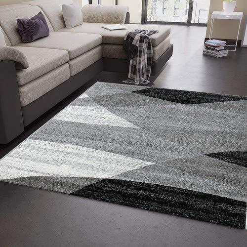 Vimoda Tapis Salon Moderne géométrique Motif Rayures chiné en Gris Blanc Noir I Certifié Oeko-TEX I, Dimensions: 60x 110cm