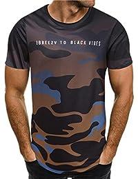 LuckyGirls Camisetas Hombre Originales Manga Corta Camuflaje Deporte Polos  Personalidad Casual Camisas (L a13cab1c1219a
