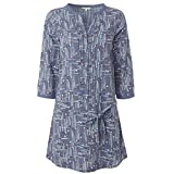 Ex White Stuff Ethical Online Brand Dusky Blue Paint Pot Print Long Line Tunic with 3/4 Length Sleeves (14)