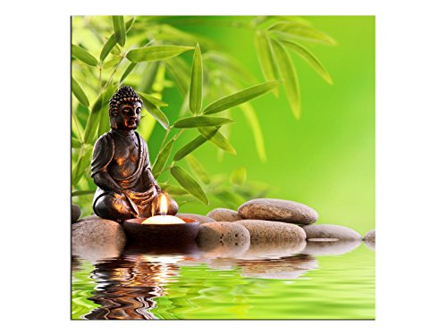 Buddha Grün Bild Leinwandbilder Wandbilder Foto auf Leinwand A05518 Größe 50 x 50 cm