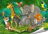 PMP-4life Kinderposter Tiere im Jungel HD XXL Poster 140cm x 100cm Hochauflösende Wanddekoration Kinder Bild für Wandgestaltung Wandbild | Fotoposter Jungel Comic Dschungeltiere | + GRATIS Poster