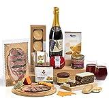 Hay Hampers, Luxus britische Festen. Weihnachtspicnickorb frische Käse, Fleisch, Englische Obstkuchen, und 'Mince Pies'