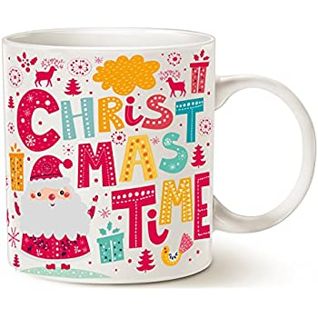 Christmas Time Ceramic Cup This Might be Wine Funny Santa Claus Coffee Mug Unique White 14 Oz