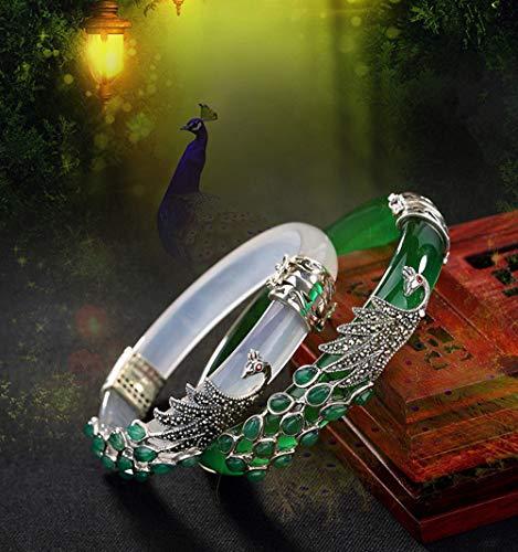 S925 Sterling Silber Armband Frauen Thai Silber Chalcedon Armreif Jade Vintage Markasit Pfau Armreifen feiner Schmuck