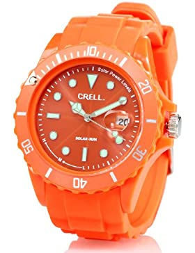 Crell Solar-Uhren aus Silikon: SOLAR-betriebene Quarz-Uhr mit Silikonarmband, poppig-orange (Solar-Betriebene...