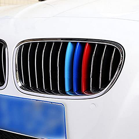 Exact Fit ///M-Colored Grille Insert Trims fit BMW F10 F11 5 Series 528i 535i 550i with M-Performance Black Kidney Grill (12 Beams) ABS Plastic