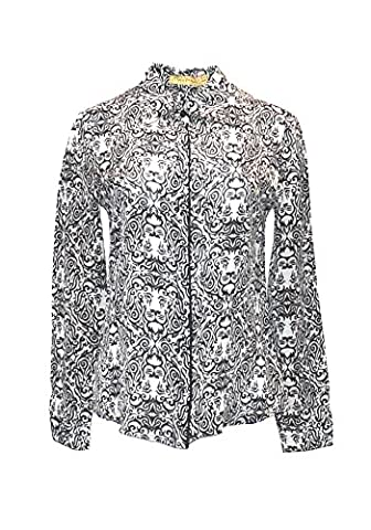 Leonna shirt, 100% silk, classic collar, front closure with hidden buttons, contrasting front with bias in black silk, long sleeves and buttoned cuffs, fancy lions; size 44