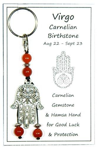 W054 - Virgo Birthstone - Carnelian Gemstone & Hamsa Hand Keyring Handmade by Jeannieparnell
