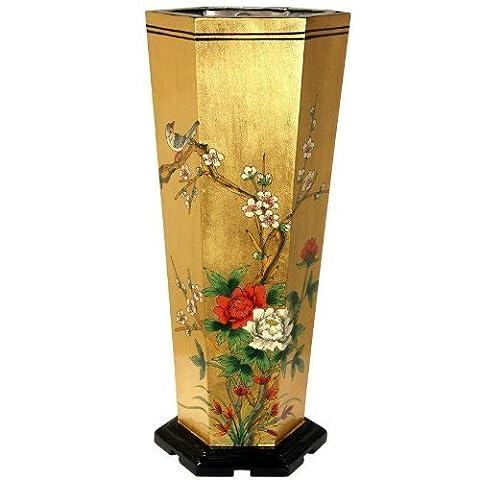 Oriental Furniture Gold Leaf Umbrella Stand by Oriental Furniture