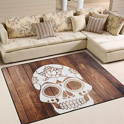 �matten 7'x5 '(80x58 Zoll) Teppiche Schädel Muster Scary Halloween rutschfeste Bodenmatte für Wohnzimmer Schlafzimmer ()