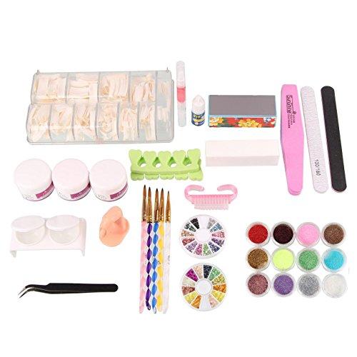 Beauty7 Kit de Nail Art Pour Ongle Faux Complet - 21 accessoires Poudre Pince Brosse Block Liquide Acrylique Strass Manucure