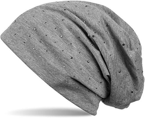 styleBREAKER Klassische Beanie Mütze mit Edler Strass-Nieten Applikation, Unisex 04024037, Farbe:Grau