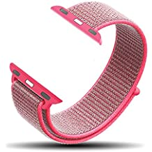 Corki Correa para Apple Watch de 38mm, Banda Pulsera Brazalete de Repuesto de Nylon Tejido Bucles Deportivo para iWatch Apple Watch Series 3, Series 2, Series 1, Nike+, Edition, Rosa Intenso