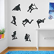 Kids Stunt Scooters, jumps, Tricks, Wall Decorations Window Stickers Wall Decor Wall Stickers Wall Art Wall Decals Stickers Wall Decal Decals Mural Décor Diy Deco Removable Wall Decals Colorful Stickers