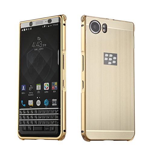 Metall Schutzhülle Alu Hard-Case Schutz Handytasche Ultra-Slim Handy-Hülle für Blackberry KEYone, Gold