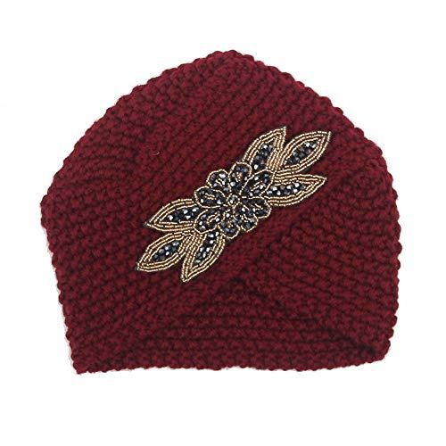 Winter Stricken Wolle Warme Mütze Slouchy Hats Hut (Farbe : Dark red)