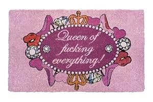 """Gift Company Paillasson en coco avec inscription en anglais """"Queen of fucking everything!"""""""
