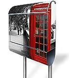 banjado - Standbriefkasten mit Zeitungsrolle Edelstahl Standfuß 38x150x12cm mit Motiv London Red Telephone