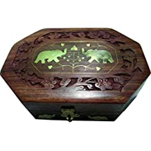 BKDT Marketing Brown Wooden Handicraft Hand Made beautifully carved Jewellery Box 20 x 13 cm