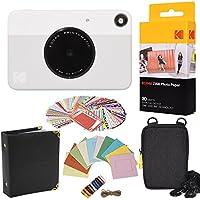 Kodak - Ensemble cadeau avec appareil photo instantané Printomatic (gris) + Papier ZINK (20 feuilles) + Mallette + 100 cadres à bordure autocollants + Cadres à accrocher + Album