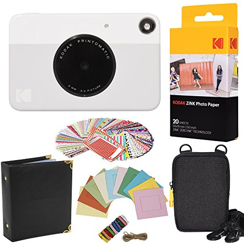 Kodak - pacchetto regalo con fotocamera istantanea printomatic (grigia) + carta zink (20 fogli) + custodia + 100 cornici adesive + cornici da appendere + album