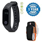 Drumstone Smart Fitness Band With Heart Rate Sensor/Pedometer/Sleep Monitoring Functions With Outdoor Cycling Running Sports Wrist Pouch Mobile Phone Arm Bag Compatible with Xiaomi, Lenovo, Apple, Samsung, Sony, Oppo, Gionee, Vivo Smartphones (One Year Warranty)