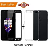 Shoppingmonk OnePlus 5 / One Plus 5 / One Plus Five/ OnePlus 5 (COMBO OFFER) Original Ultra Thin Shock Proof TPU Case For OnePlus 5 Back Cover Case ( Black ) + 2.5D Curved 3D Edge To Edge Full Screen Tempered Glass Mobile Screen Protector - ( Black )