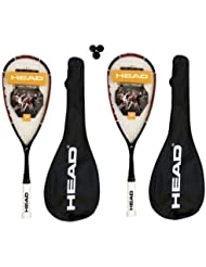 Head Nano Ti.110 Lot de 2 raquettes de Squash en titane 3 balles de Squash Dunlop 410