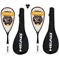 Head Nano Ti.110 Titanio Raquetas Squash + 3 Dunlop Pelotas De Squash, 2 Piezas