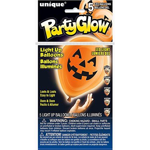 Unique Party Supplies Leucht-Luftballons mit LEDs, Halloween-Motiv Kürbislaterne, 25,4cm, Latex, 5Stück