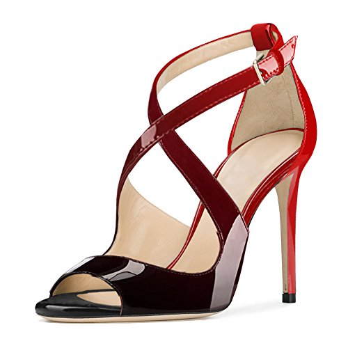 Damen Peep Toe Criss Cross Sandalen Glitzer Pailletten Stiletto High-Heels Lack Schwarzrot