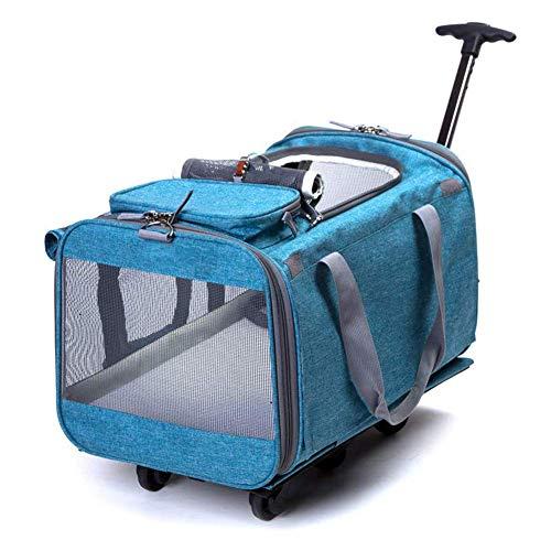 acaijj Carrello per animali 2 in 1 Zaino per trasporto su ruote per cane Gatto pieghevole pieghevole lavabile pieghevole per cani Oxford e borsa per il trasporto a mano,blu