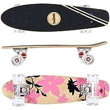 FunTomia Mini-Board Cruiser Skateboard 57cm aus 7-lagigem kanadischem Ahornholz inkl. Mach1 Kugellager