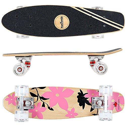 Cruiser Skateboard 57cm aus 7-lagigem kanadischem Ahornholz inkl. Mach1 ABEC-11 Kugellager - mit oder Ohne LED Rollen ()
