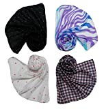 #7: Letz Dezine ™ Printed Poly Cotton Set of four mullticoloured stoles ; Scarf and stole for women