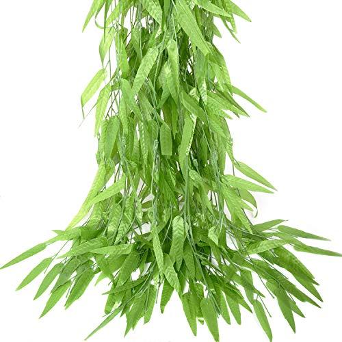 50 unids 1.9 m/Pieza Viñas artificiales Plantas falsas hojas de vid hiedra hojas verdes guirnalda Falsa ramita de mimbre de mimbre de sauce de seda para el Jardín Boda Balcón Decoración de pared