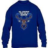 Mei Lederhosn Trogt No Da Hirsch - Oktoberfest Kinder Pullover Sweatshirt X-Small Blau