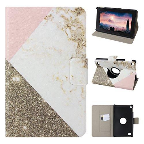 ederhülle, Asnlove Ultra Slim Lightweight PU Ledertasche Schutzhülle Tasche Leather E-Reader Case mit Auto Sleep / Wake Tablet Smart Cover für Amazon Fire 7.0 Zoll (5. Generation - 2015 Modell) - Marmor Weiß Rosa Und Grau (Kindle-color-bildschirm)