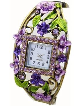 Handgefertigte Damenuhr mit Blumen und Strass Steinen K29