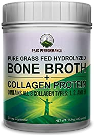 Hydrolyzed Bone Broth and Collagen Unflavored Protein Peptides Powder by Peak Performance. Contains All Collag