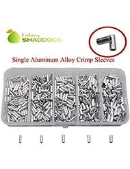Shaddock pesca® 100piezas de alta resistencia 100% único Kit Conector Crimp manga Tubo de aluminio acabado gancho de aleación de aluminio para agua salada y agua dulce Pesca Tamaño 1.0–2.0mm, 1.8mm-100PCS