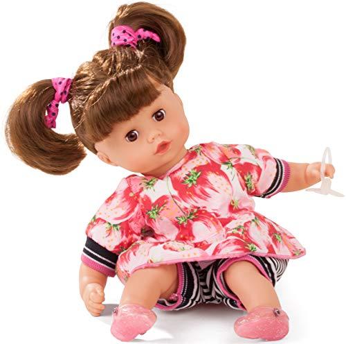 Götz 1820925 Muffin Strawberry Fields Puppe - 33 cm große Babypuppe mit Weichkörper, braune Schlafaugen, braunen Haaren - Weichkörperpuppe in 8-teiligen Set