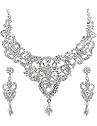 Sukkhi Youthful Rhodium Plated AD Stone Studded Necklace Set For Women