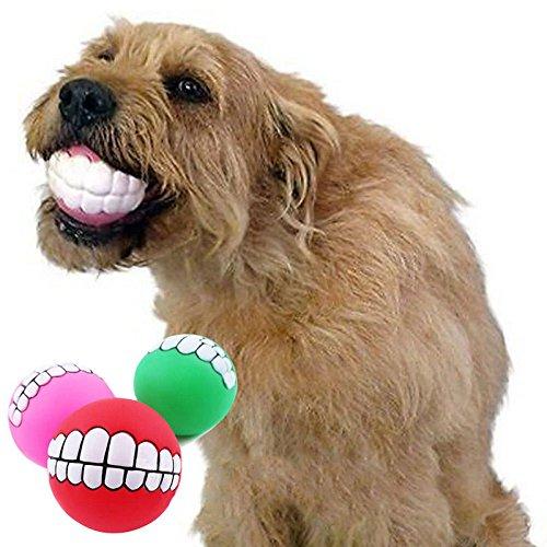1PVC Ball Zähne für Hunde Pet Vocal Spielzeug Hund beißt Molar Spielzeug Hund Training Spielzeug, Farbe zufällige (Zähne Beißt)