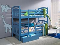 Daisy Pine Wood Children Bunk Bed With Mattresses And Storage Drawers