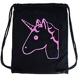 PREMYO Sacca zaino di cotone nera con bella stampa Unicorno rosa. Zainetto con corde e disegno Unicorno rosa. Sacca da palestra di qualità con chiusura a cordoni. Sacca sportiva morbida Borsa Gym Bag